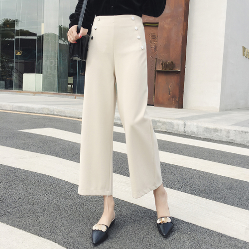 2018 Summer Spring New High Waist Wide Leg   Pants     Capris   Ankle-length   Pants   Office Lady Women's Trousers Fashion Pantalones