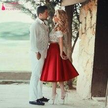 Zwei Stücke Homecoming Kleid Rot und weiß Cocktailkleid Short A-linie kleid Z260