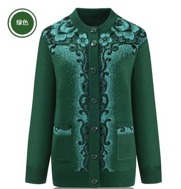 2018 The elderly autumn and winter female thickening sweater cardigan 60 - 70 sweater clothes