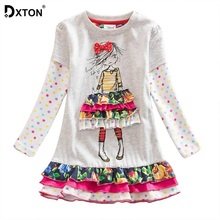 Dxton Girls Dress 2018 Baby Girls Clothes Winter Cacual Costume Kids Dresses For Girls Christmas Princess Clothing LH3660 2-8Y bear leader girls dresses 2018 new brand spring princess dress kids clothes graffiti print design for baby girls clothes 3 8y