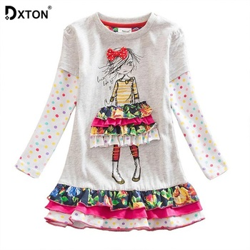 Dxton Girls Dress 2018 Baby Girls Clothes Winter Cacual Costume Kids Dresses For Girls Christmas Princess Clothing LH3660 2-8Y baby girls dress long sleeve 2018 brand kids winter dresses for girls costume princess christmas dress flower children clothes