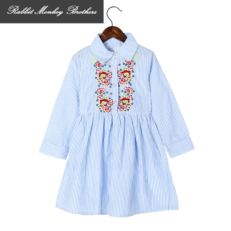 RMBkids Girl Dresses Summer Embroidered long sleeves striped girl clothes Autumn Teen Girls shirt dress for 5 6 7 10 14 15 years hayden girls boho ethnic dress designs teenage girls national embroidered dresses flare sleeve loose fit dress for 7 to 14 years