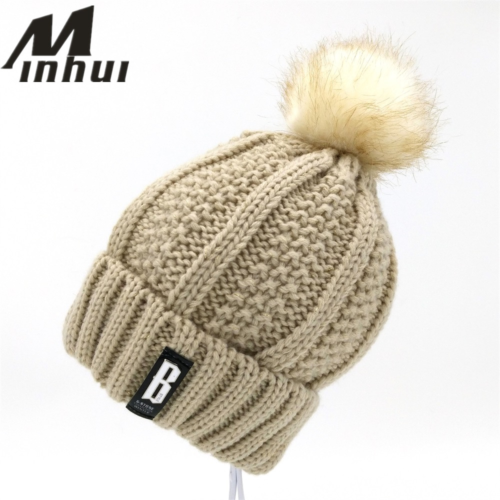 Minhui letra B casual gorras mujer sombreros de invierno crochet de ...