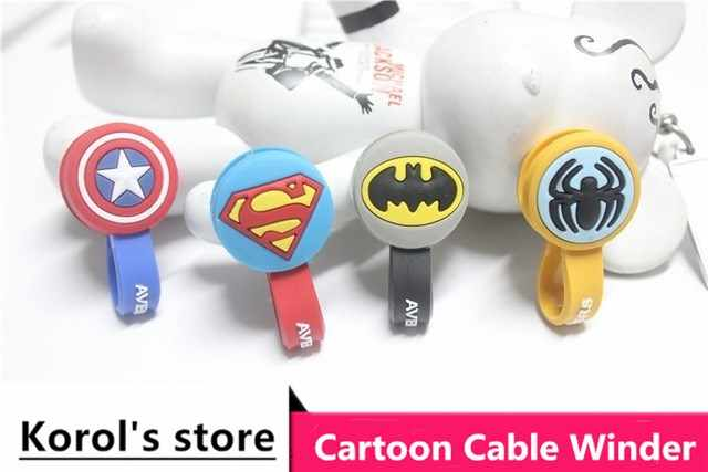 10 cái/lốc Superman, Batman Headphone Tai Nghe Cable Dây Organizer Cord Chủ USB Charger Cable Winder Cho iphone samsung MP3