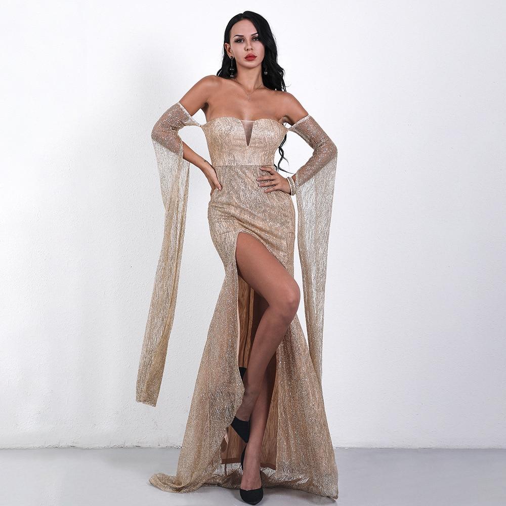 Robe longue sans bretelles élégante célébrité mode soirée fête de noël Sexy femmes nuit Club robes longues