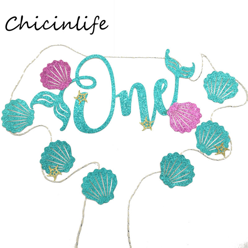 Chicinlife 1Set Green Baby First Birthday One Year Old Banner Baby Shower Party Decoration Hanging Bunting Supplies