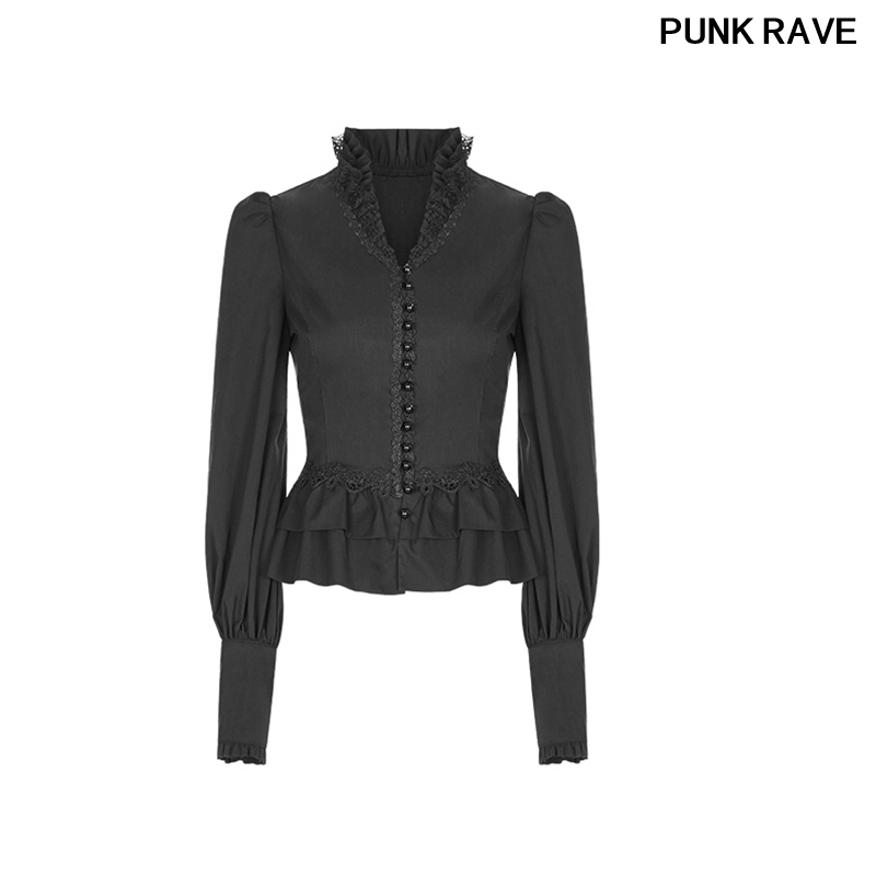 Embroidery Ruffle Lace Shirt Gothic Long Sleeve Black Cotton Blouse Wearing Rope Adjustment Self cultivation PUNK RAVE WY 889CCF