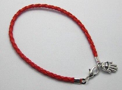 2ad8f4a0e332 100 unids red leatheroid trenzado de cuerda de HAMSA mano Amuletos buena  suerte pulseras 20 cm a00501