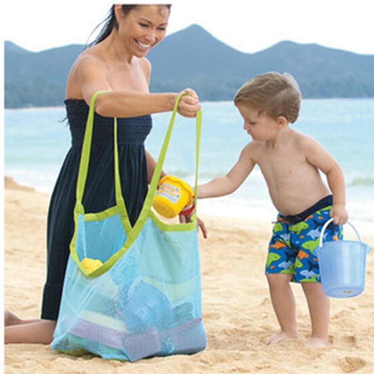 1 Pc Beach Toys Portable Storage Bag Outdoor Fun Sports Props Sand Away Kids Travel Foldable Mesh Bag