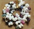 Natural Turmalina Pulsera 4 Filas de Perlas Blanco