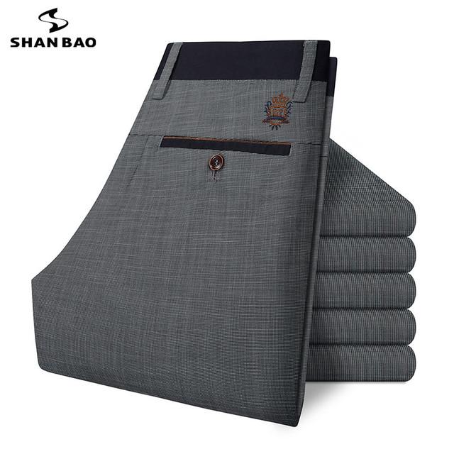 SHAO BAO Magro dos homens marca de algodão calças casuais 2017 primavera e no verão de luxo de alta qualidade calça cinza bordado grande tamanho