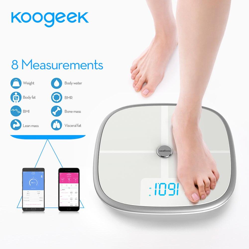 imágenes para Aprobado POR LA FDA Koogeek Escala Inteligente Bluetooth Wi-Fi Medidas de Sincronización Muscular la Masa ósea BMI BMR de Peso de Grasa de Grasa Corporal y Agua de Apoyo APP