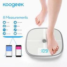 Koogeek FDA Approved Smart Scale Bluetooth Wi-Fi Sync Measures Muscle Bone Mass BMI BMR Fat Weight Body Fat Water Support APP