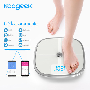 Koogeek FDA Approved Smart Scale Bluetooth Wi-Fi Sync Measures Muscle Bone Mass BMI BMR Fat Weight Body Fat Water Support APP Home Automation Modules