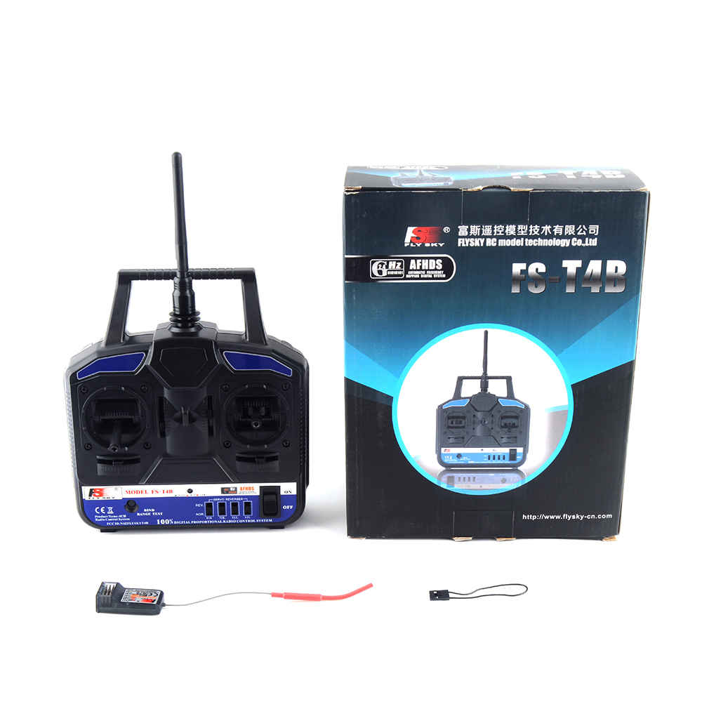 Flysky FS-T4B 2.4G 4CH Radio Control RC Transmitter + FS R6B Receiver For Heli Plane For RC Drone Quadecopter Airplanes flysky Lahore