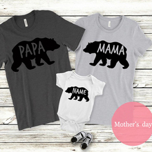 mama bear tshirt papa shirt baby top 2019 summer mommy and me outfit family daddy kids matching clothes print casual