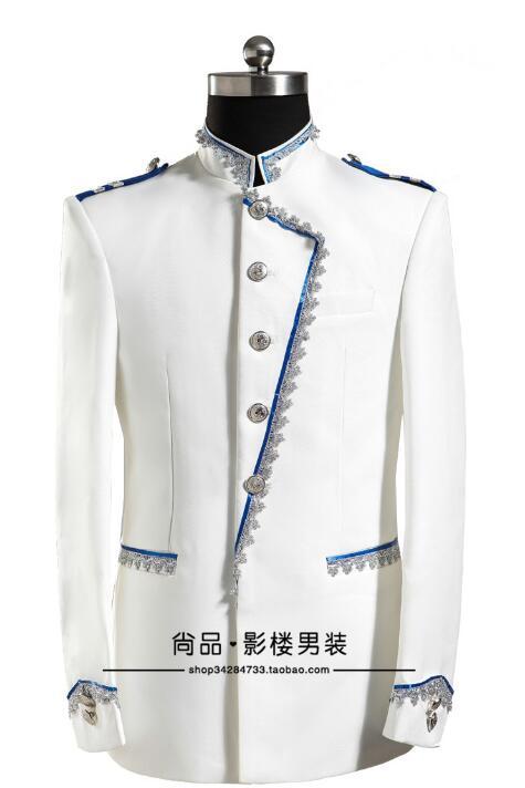 Pantalon Mariage Costumes Scène De Formelle Pour Robe Star Royal Marié Chanteur Mens Danse Avec Hommes Vêtements Blanc Européenne Ensemble Style Costume q16wfxP