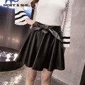 Outono inverno fashion show fina bowknot adorno das mulheres alta cintura elástica pu saia de couro plissada b6n5172y