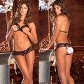 Muñeca de las mujeres Sexy Sujetador de Encaje Bragas Del Arco-Nudo Erótica Lencería Abrir Bra + G-string Bikini Intimo Donna Sexy Trajes Calientes