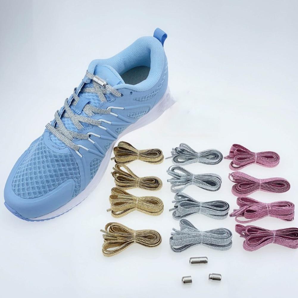 1Par Perezoso Cordón de Zapato Adulto Elástico Cordones de Zapatillas 100CM
