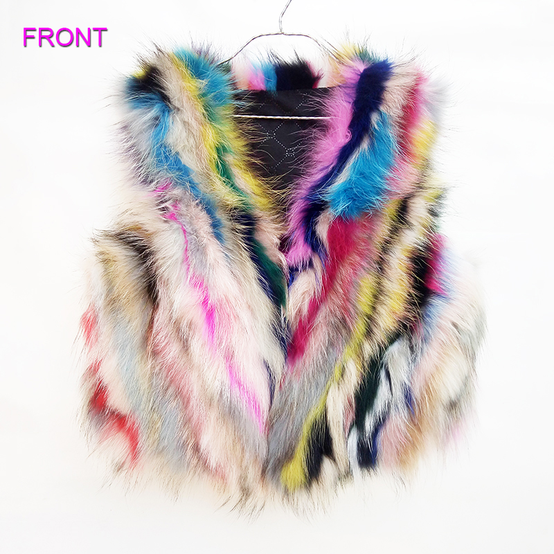 New spring autumn girl boy children kids Colorful real fox vest child 15-16 years old genuine fur coat outwear jacket clothing 2016 autumn and spring new girl fashion cowboy short jacket bust skirt two suits for2 7 years old children clothes set