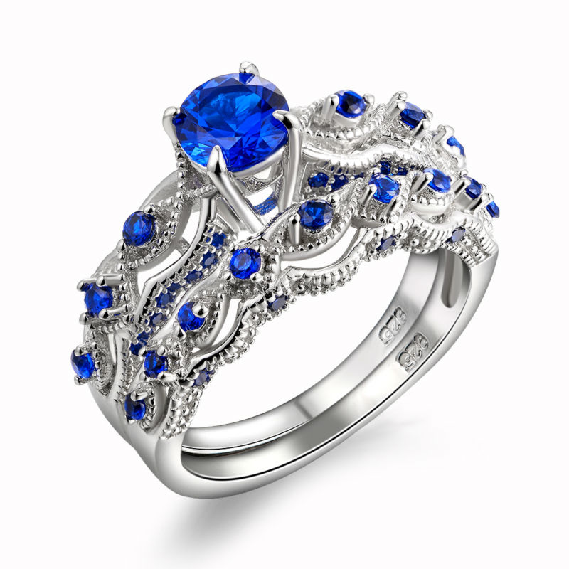 13 Ct Solid 925 Sterling Silver Wedding Ring Sets Engagement Band Blue CZ Eternal High Quality