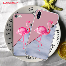 Color Flamingo Phone Case For iphone X Case For iphone 5 5S SE 7 6S 6 8 Plus Marble Geometric Splice Pattern Cases Cover