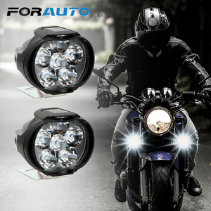 1 Pair Motorcycles Headlight 6500k White Super Bright 6 LED Working Spot Light Motorbike Fog Lamp 1200LM LED Scooters Spotlight