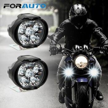 1 Pair Motorcycles Headlight 6500k White Super Bright 6 LED Working Spot Light Motorbike Fog Lamp 1200LM LED Scooters Spotlight
