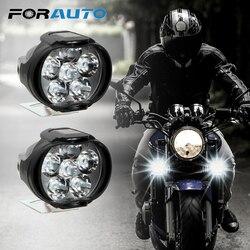 1 par de faros delanteros para motocicletas 6500 k, Blanco superbrillante, 6 LED de trabajo, faro antiniebla para motocicletas, foco LED para Scooters 1200LM