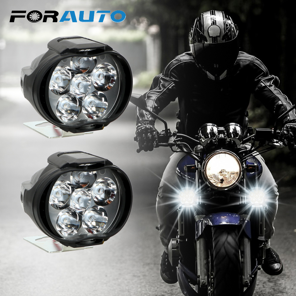 2Pcs Motorcycles Headlight 6500k White Super Bright 6 LED Working Spot Light Motorbike Fog Lamp 1200LM LED Scooters Spotlight