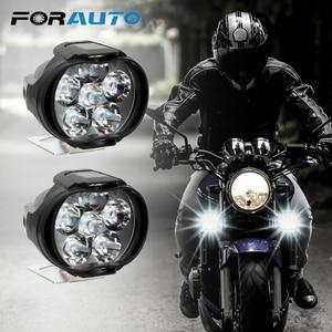 2Pcs Motorcycles Headlight 6500k White Super Bright 6 LED Working Spot Light Motorbike Fog Lamp 1200LM LED Scooters Spotlight(China)