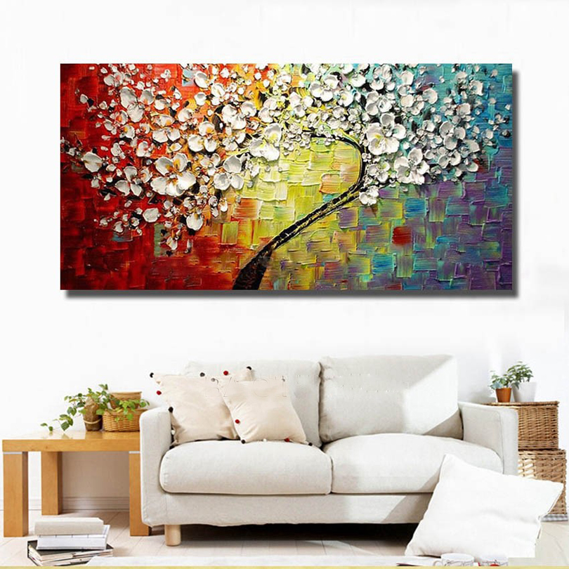 Paintings For Living Room Furniture Sets Cheap New Handmade Modern Canvas On Oil Painting Palette Knife Tree 3d Flowers Home