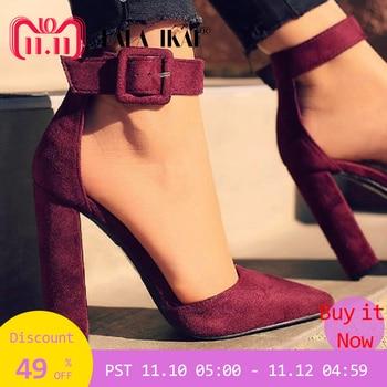 LALA IKAI Woman High Heels Wedding Shoes Brand Strap Heels Classic Heeled Sandals 12CM Ladies Red Platform Pumps 014C1734 -35