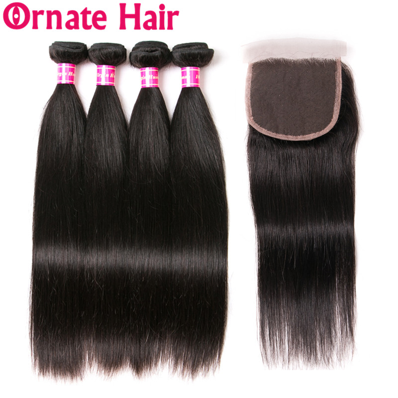 Ornate Straight Hair Bundles With Closure 100 Human Hair Bundle With Closure Brazilian Hair Weave Bundles