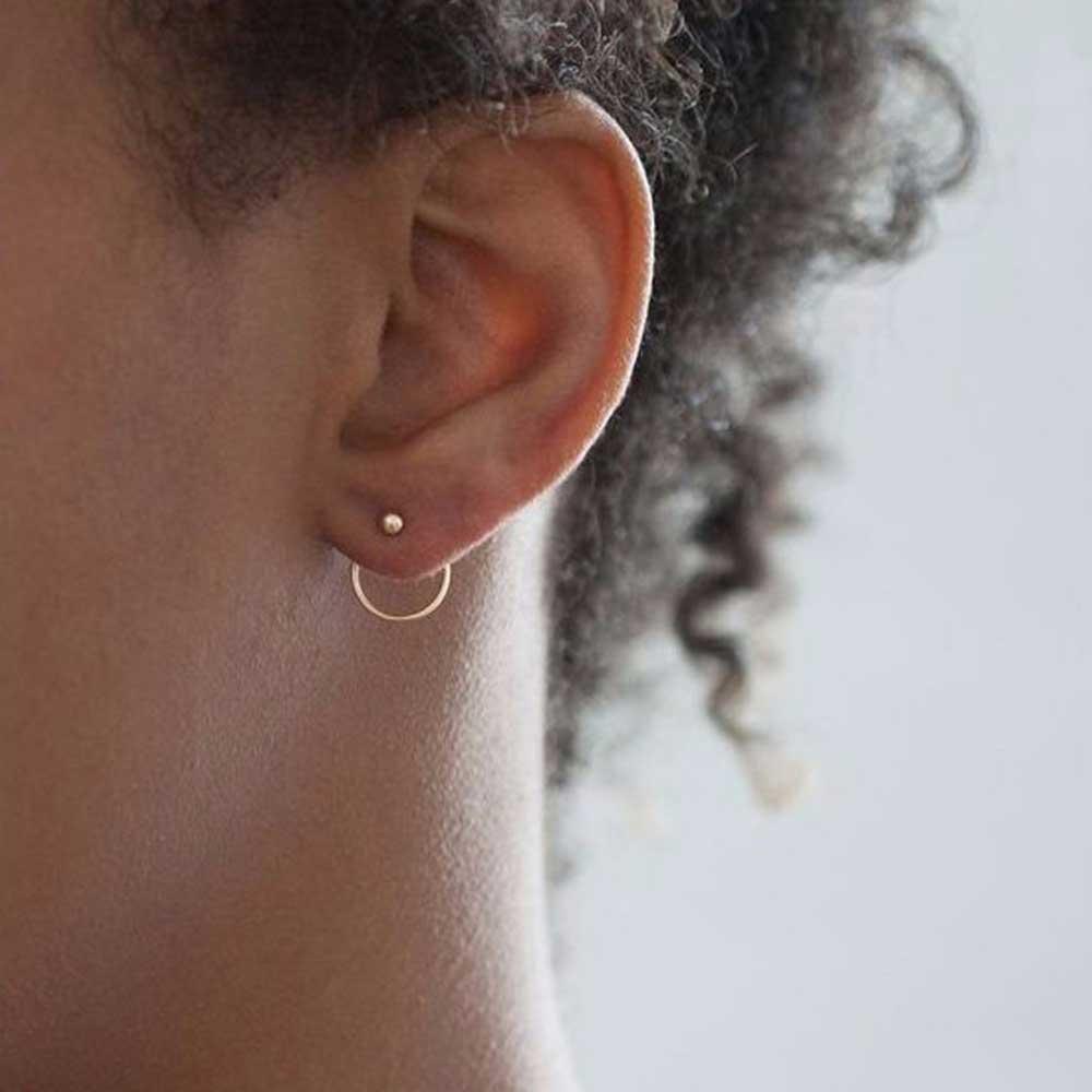 FAMSHIN Fashion Bohemian Vintage Earrings Jewelry Cute Gold Color Geometric Round Metal Stud Earrings Best Gift For Women Girl