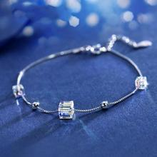 Everoyal Trendy Silver 925 Girls Bracelets Jewelry Vintage Crystal Square Female For Women Birthday Gift Charm