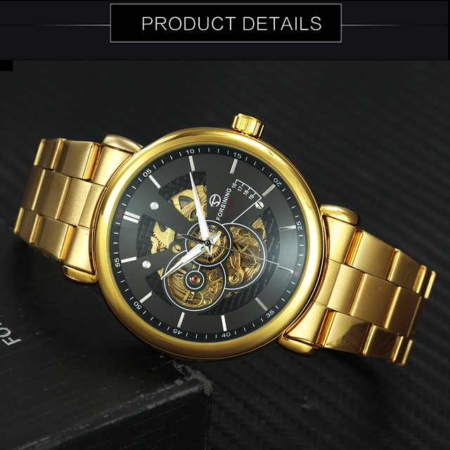 FORSINING 2019 New Automatic Mechanical Watch Men Golden Metal Strap Skeleton WINNER Mens Watches Top Brand Luxury With Jewel