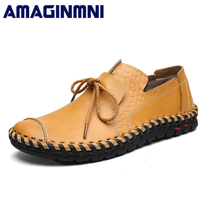 AMAGINMNI Breathable Mens Casual Shoes Genuine Leather Brand Fashion Shoes Men Soft Comfortable Rubber sole Plus Size 38-44 genuine leather men casual shoes plus size comfortable flats shoes fashion walking men shoes
