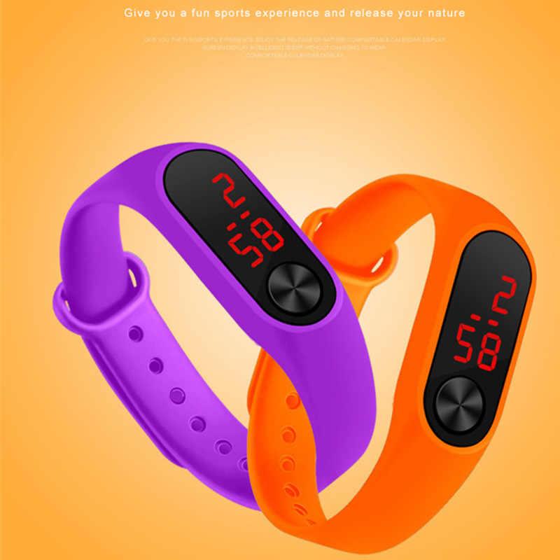 גברים נשים מזדמנים ספורט צמיד שעונים LED אלקטרוני דיגיטלי צבעים בוהקים סיליקון שעון יד ילדי ילד saati Relogio 2019