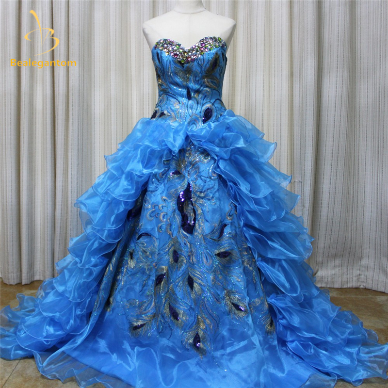 New Sexy Luxury Peacock Quinceanera Dresses 2017 Ball Gowns Sweetheart Organza Beaded Sweet 16 Dresses Party Gowns QA850