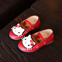 Cute Princess Girls Shoes 2016 Autumn New Kitty Design Children Shoes Sweet Cat Bowknot Print Kids Flats Shoes Size 21-36