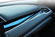 Titanium Синий Приборной панели консоли Панели Приборов комплектация крышка из нержавеющей стали 3 шт. для Civic Honda 2016 аксессуары