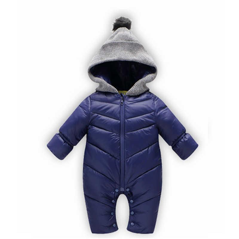 Зима Весна Панда Детские ромперы комбинезоны боди комбинезон новорожденная девочка утка вниз зимний костюм дети младенческой снежной одежды
