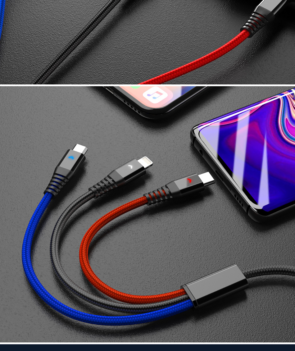!ACCEZZ 2.4A 3 in 1 USB Cable Micro USB Type-C Charging Cable For iPhone 7 8 Plus X XS XR Android Phone For Samsung S8 Data Cord (14)