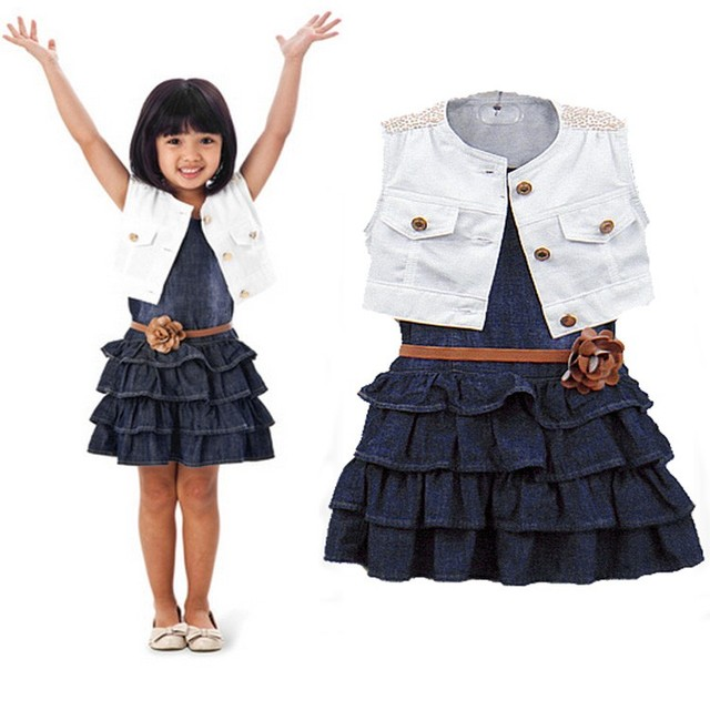 2016 Minnie Mouse Girls Spiderman Fashion Baby Girl Kids O-neck Sleeveless Solid Button Ruffles Dress Set Jean Two Piece With