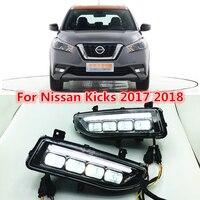 Один набор поворотов стиль реле 12 В светодио дный автомобиль DRL дневные ходовые огни с противотуманной лампой отверстие для Nissan пинает X trail