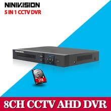 NINIVISION HD CCTV 8-канальный AHD 1080 P видеонаблюдения DVR NVR 8 канал AHD-NH 1080 P HDMI Автономный безопасности 3 Г WI-FI DVR видео рекордер