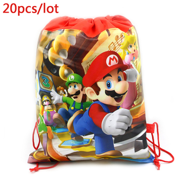 20 unids/lote, Mochila decorativa para fiestas, tema de Súper Mario, Baby Shower,...