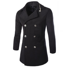 Men's trench coat double-breasted collar zipper design solid color wool long section high quality warmth slim blends coat double breasted belt epaulet design turndown collar wool coat